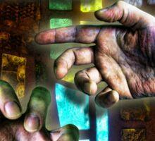 Three Hands on Stain Glass Sticker