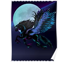 Black Pegasus and Blue Moon Poster