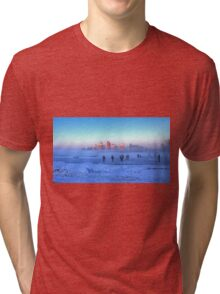 Ice Skaters In Front Of A Castle Tri-blend T-Shirt
