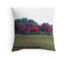Red Impression of Michigan Throw Pillow