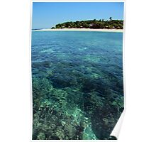 Floating over the reef near Fijian island Poster