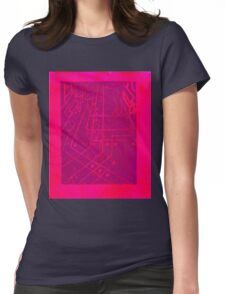 computer chip sidewalk in neon pink Womens Fitted T-Shirt