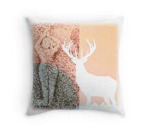 Gaia and the Stag - Salmon Throw Pillow