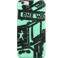 black and aqua street signs iPhone Case/Skin