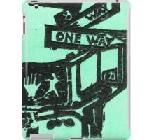 black and aqua street signs iPad Case/Skin