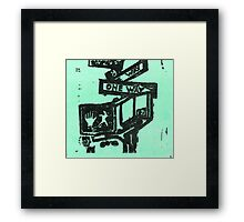 black and aqua street signs Framed Print