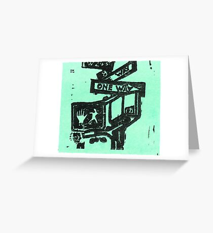 black and aqua street signs Greeting Card