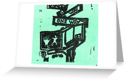 black and aqua street signs by purplestgirl