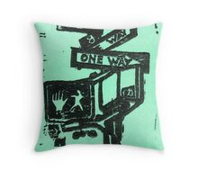 black and aqua street signs Throw Pillow