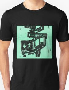 black and aqua street signs Unisex T-Shirt