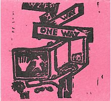 black and pink street signs Photographic Print