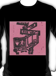 black and pink street signs T-Shirt