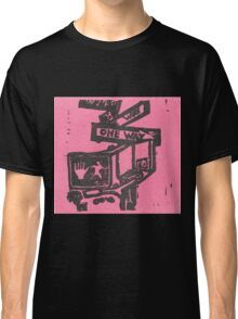 black and pink street signs Classic T-Shirt