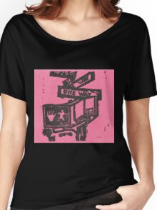 black and pink street signs Women's Relaxed Fit T-Shirt