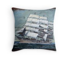 Sailing Ship at Sea Throw Pillow