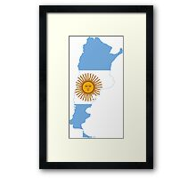 Flag Map of Argentina  Framed Print