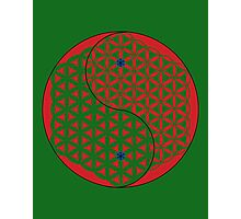 Red Flower of Life Yin & Yang  Photographic Print