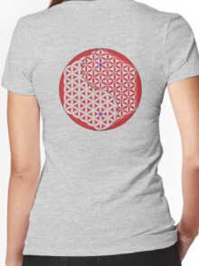 Red Flower of Life Yin & Yang  Women's Fitted V-Neck T-Shirt