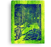 downtown street shot green Canvas Print