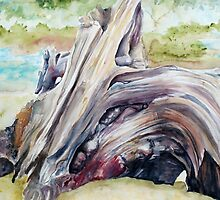 Driftwood Painting Watercolor Art by ArtLuver