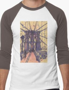 brooklyn bridge, front view Men's Baseball ¾ T-Shirt