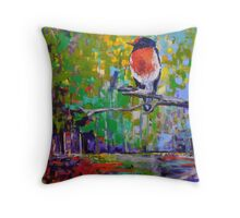 Red Crested Robin in Paradise  Throw Pillow
