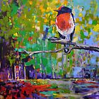 Red Crested Robin in Paradise  by Cat Leonard