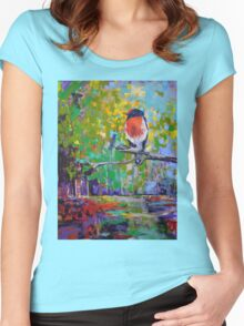 Red Crested Robin in Paradise  Women's Fitted Scoop T-Shirt
