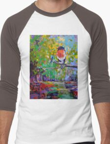 Red Crested Robin in Paradise  Men's Baseball ¾ T-Shirt
