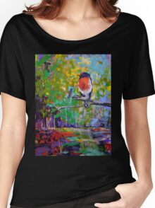 Red Crested Robin in Paradise  Women's Relaxed Fit T-Shirt