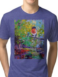 Red Crested Robin in Paradise  Tri-blend T-Shirt