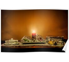 Christmas still life composition on a wooden table Poster