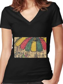 chinatown umbrella Women's Fitted V-Neck T-Shirt