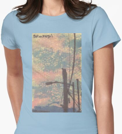 telephone wires and lamp Womens Fitted T-Shirt