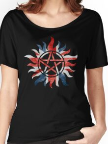 Supernatural Union Jack Anti-Possession Print Women's Relaxed Fit T-Shirt