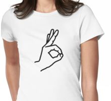 Hand finger ok Womens Fitted T-Shirt