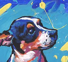 Rat Terrier Dog Bright colorful pop dog art by bentnotbroken11