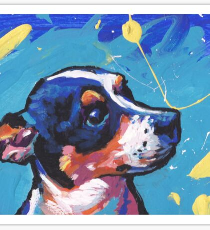 Rat Terrier Dog Bright colorful pop dog art Sticker