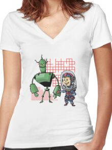 SpaceKid and Leader001 of the GreenBot Planet Women's Fitted V-Neck T-Shirt