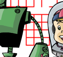 SpaceKid and Leader001 of the GreenBot Planet Sticker