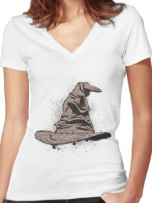 The Sorting Dictionary Hat Women's Fitted V-Neck T-Shirt