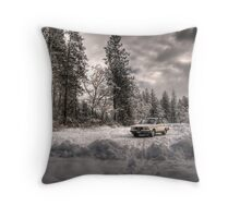 Volvo in the Snowstorm Throw Pillow