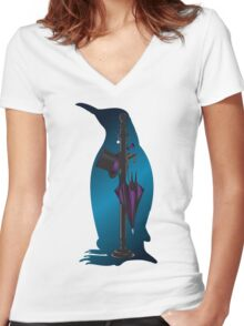 The Penguins Personals (Blue) Women's Fitted V-Neck T-Shirt