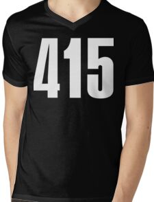 415 San Francisco [White Ink] | Phone Area Code Shirts Stickers Mens V-Neck T-Shirt