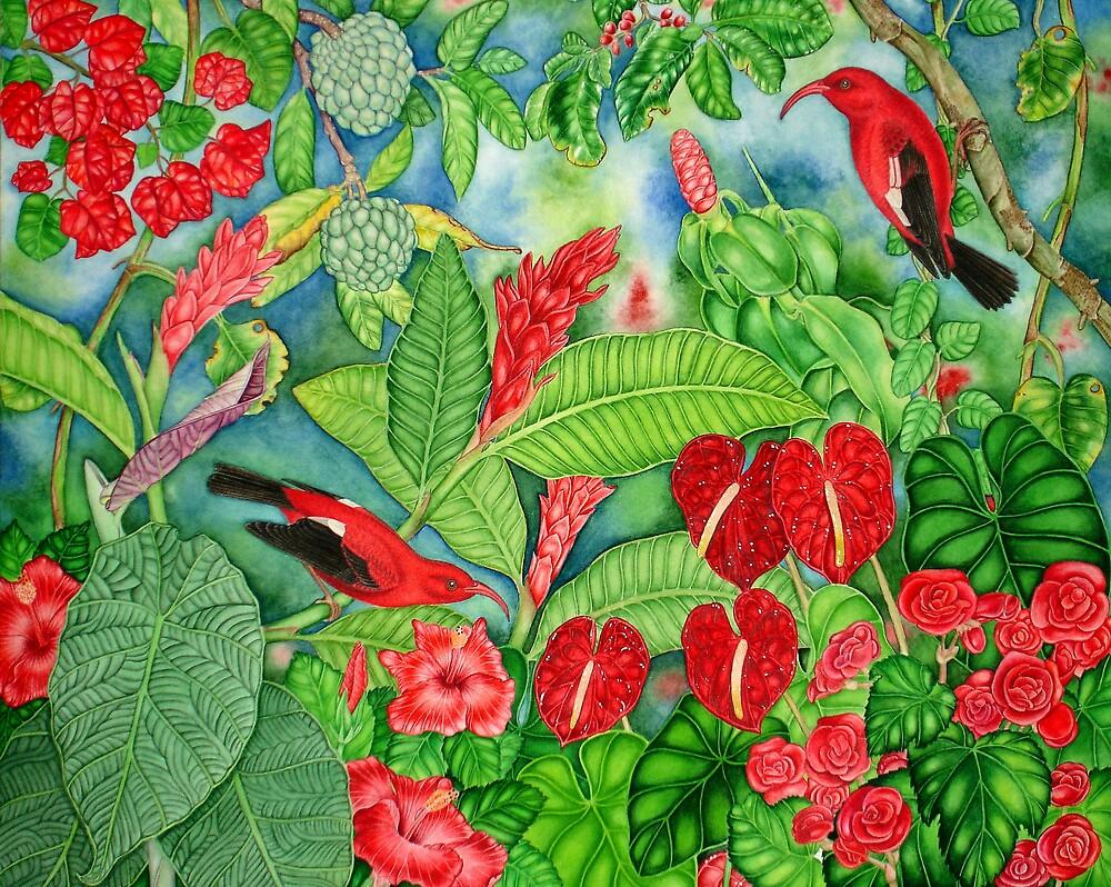 Red Iiwi Garden by joeyartist