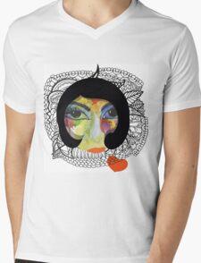 French Girl with Big Eye Mens V-Neck T-Shirt