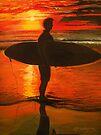 Sunrise Surfer - Seascape by © Linda Callaghan