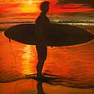 Sunrise Surfer - Seascape by Linda Callaghan