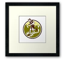 Cross Country Runner Mountains Circle Woodcut Framed Print