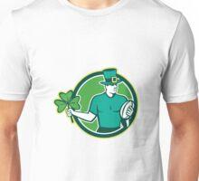 Irish Rugby Player Holding Shamrock Unisex T-Shirt